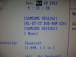 BIOS画面でハードを認識。