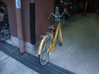 不法放置され、自動車の入替えに支障を来たす自転車。