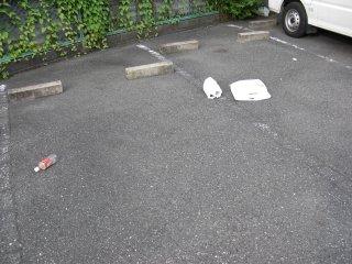 駐車場で誰かが食い散らかした様です。