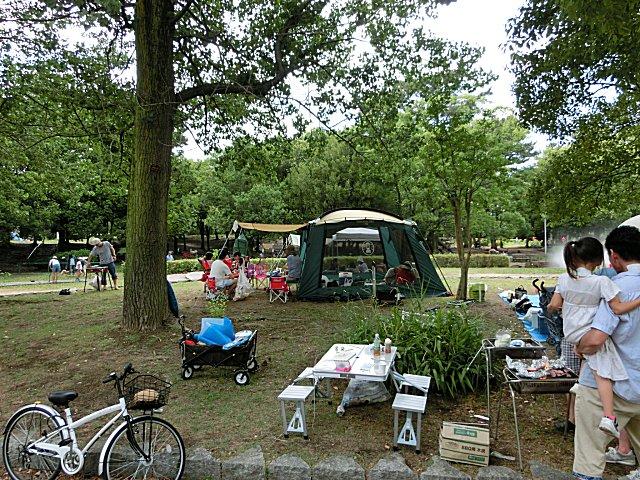 バーベキュー客で溢れかえる緑地公園です。