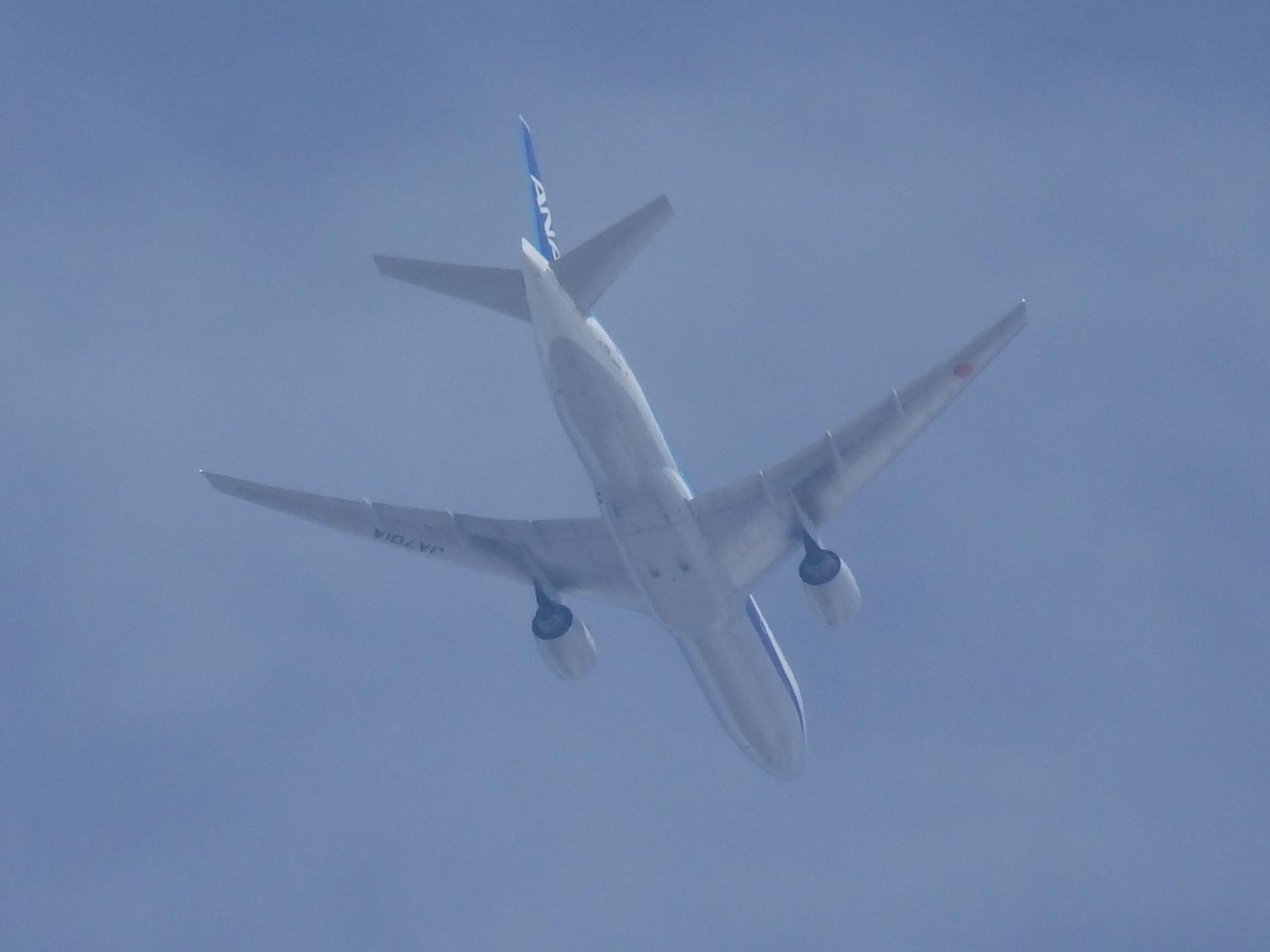 慌ただしく飛び去ったJA701A機です。