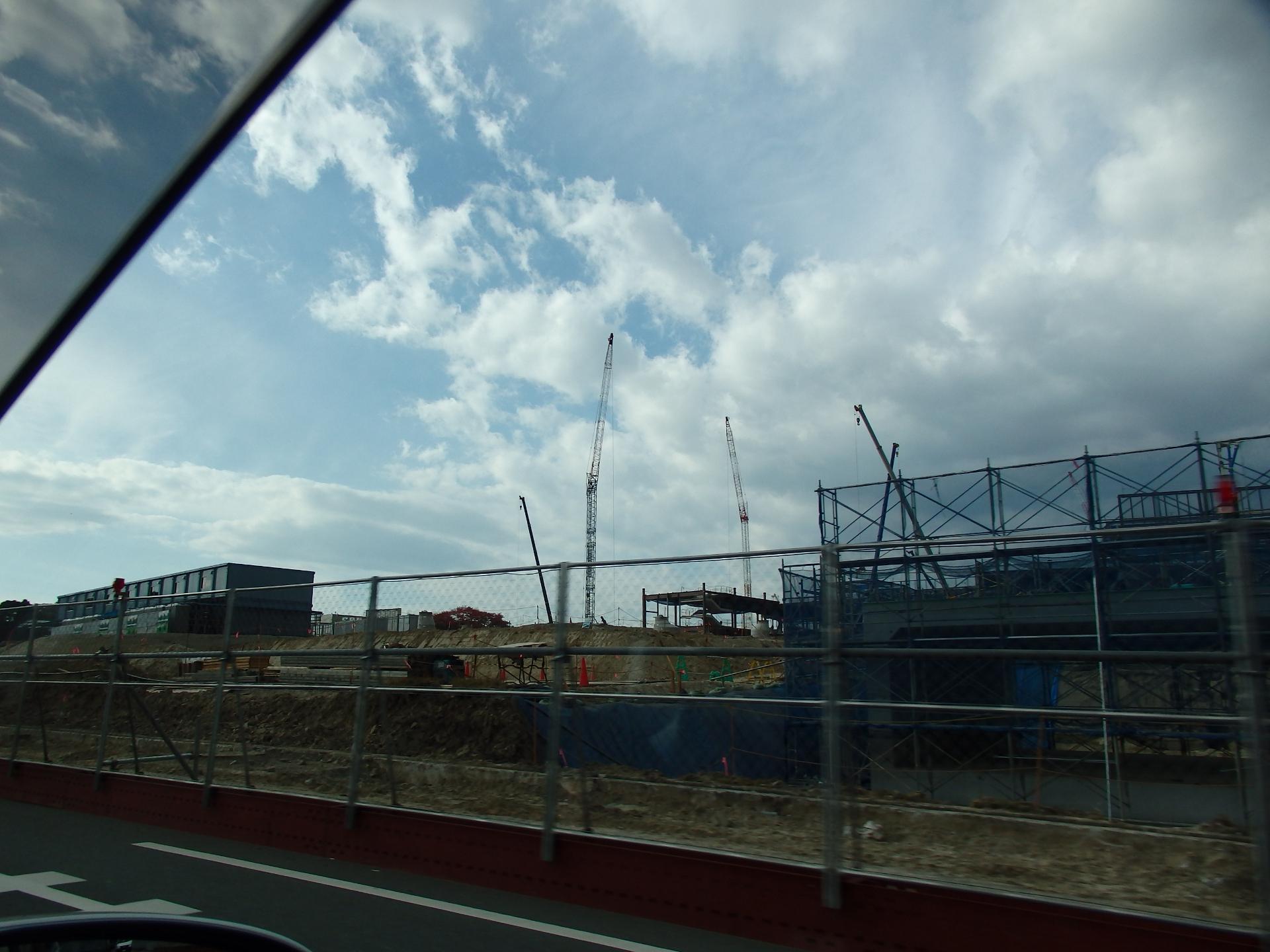 サッカースタジアム建設工事現場です。