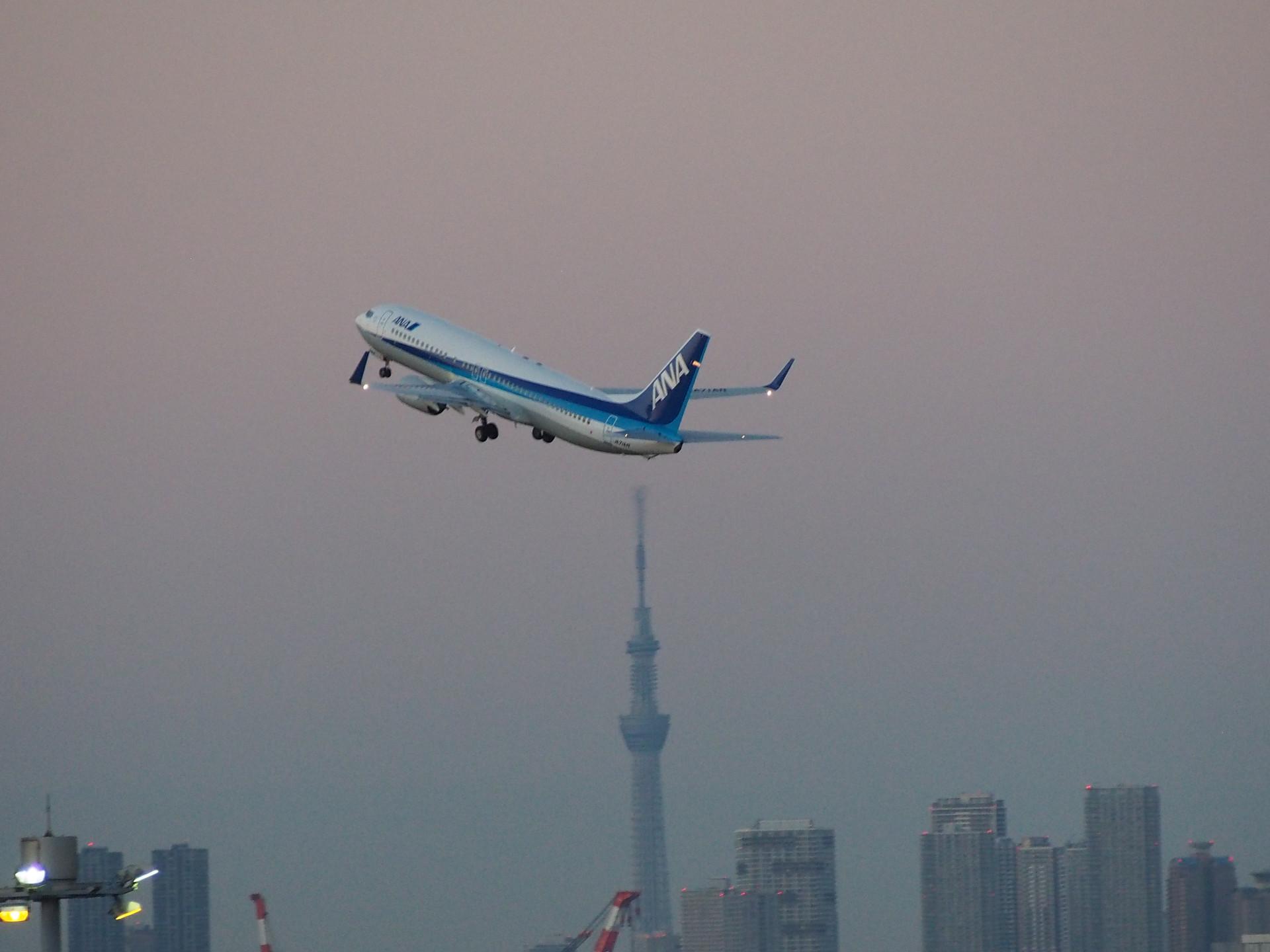 東京スカイツリーと離陸機です。