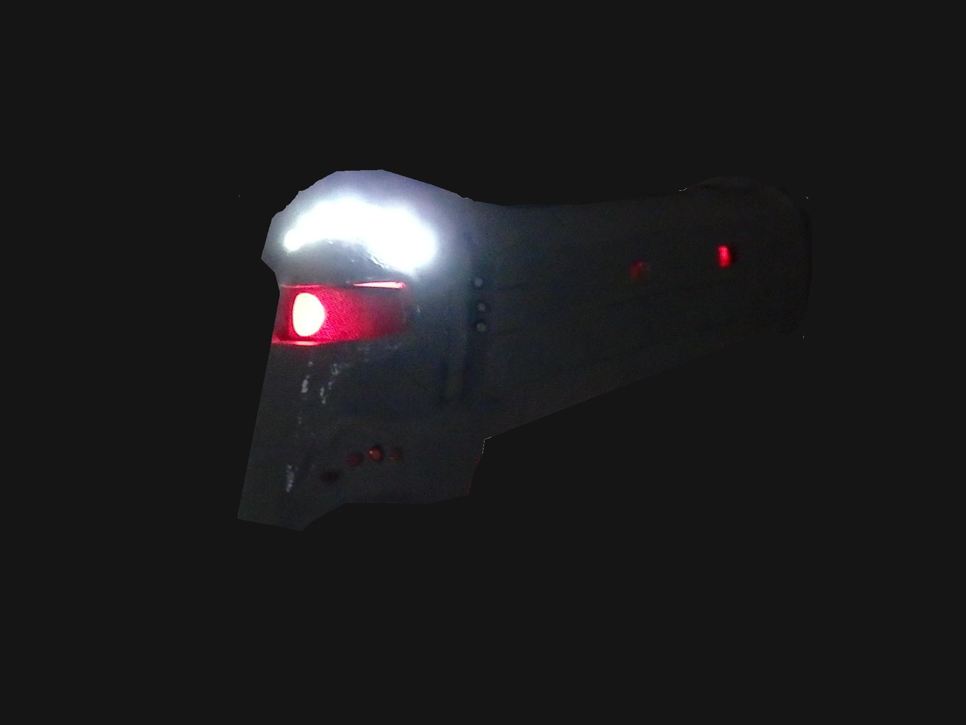 上部ヘッドライトと同時点灯させた状態。