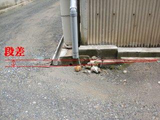 排水溝を掘ろうにも、段差がネックに。