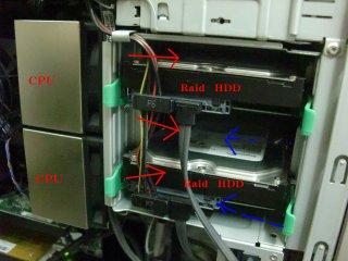 HDDはもともと高熱ながら、CPUの放熱で更に高熱に。